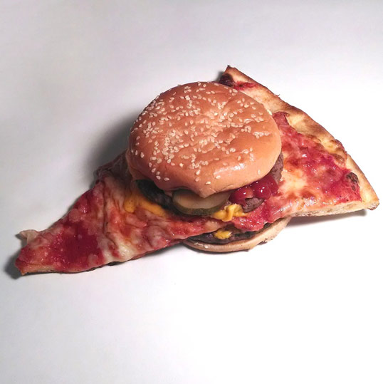 The perfectly hellish combination of terrible frozen pizza and poor quality burger