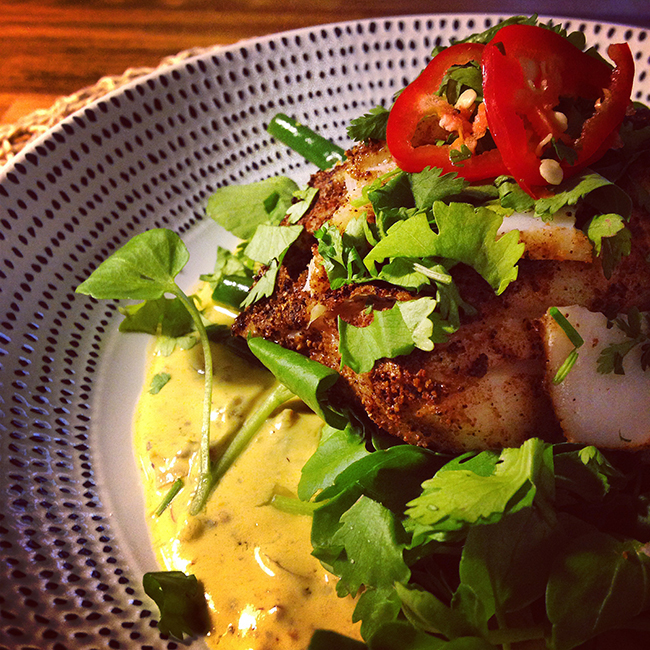 Garam masala cod with charred green vegetables, watercress and a killer curry sauce