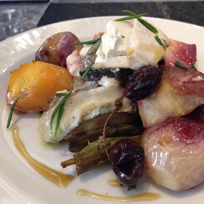Roasted root vegetables with Monte Enebro and black olive dressing