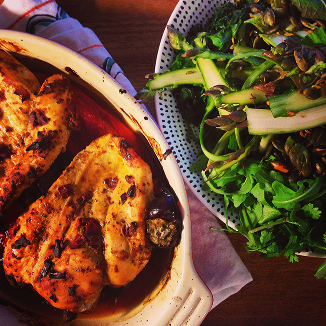 Harissa chicken with soft herb and shaved asparagus salad